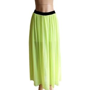 Pleated Neon Lime Green Semi Sheer Maxi Skirt